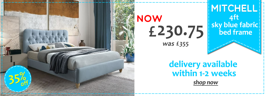 Mitchell Sky Blue Velvet Bed - 30% Off