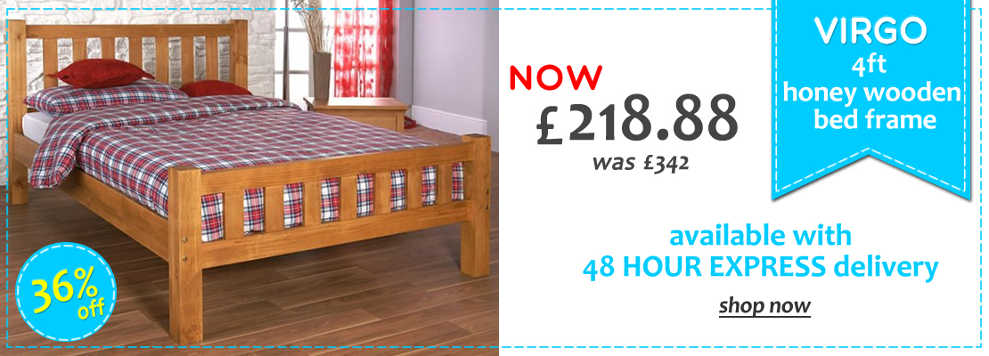 Virgo 4ft Pine Wooden Bed - 15% off