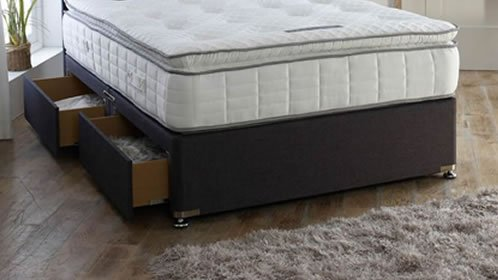 4ft Small Double Divan Bed with Black Base /& Deep Quilt Mattress