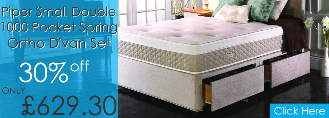 Piper Small Double 4ft 1000 Pocket Spring Orthopaedic Divan Set - 30% off