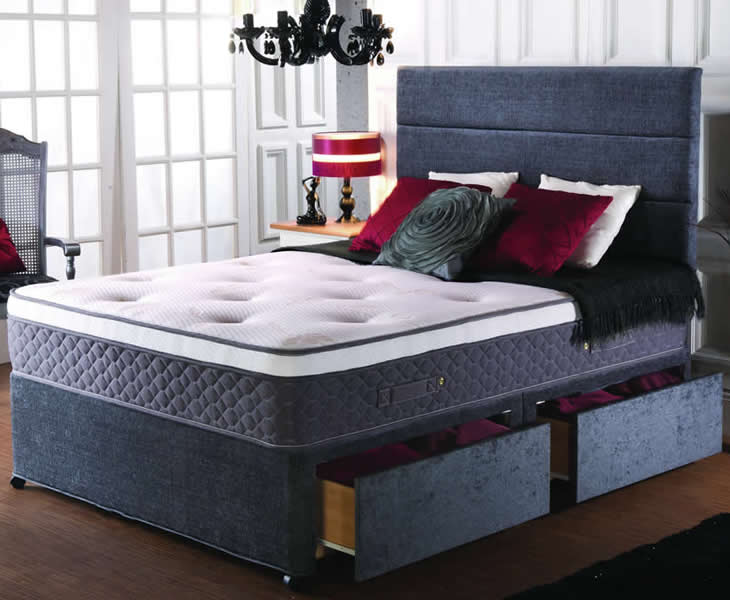 Lacey small double 4ft 1500 pocket spring memory divan set for Small double divan set
