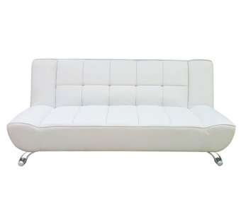 Vogue 110cm White Faux Leather Clic-Clac Sofa Bed