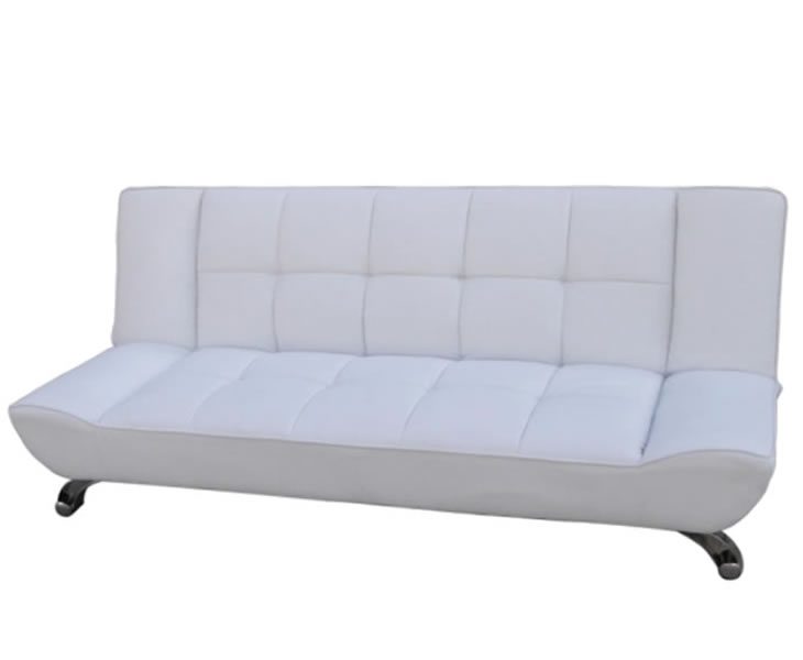 vogue 110cm white faux leather clic clac sofa bed. Black Bedroom Furniture Sets. Home Design Ideas