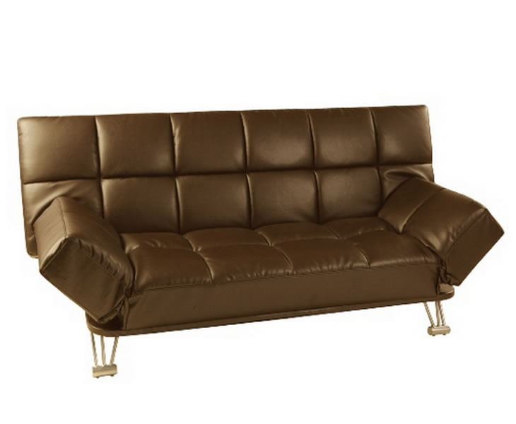 claudia 115cm brown faux leather clic clac sofa bed. Black Bedroom Furniture Sets. Home Design Ideas