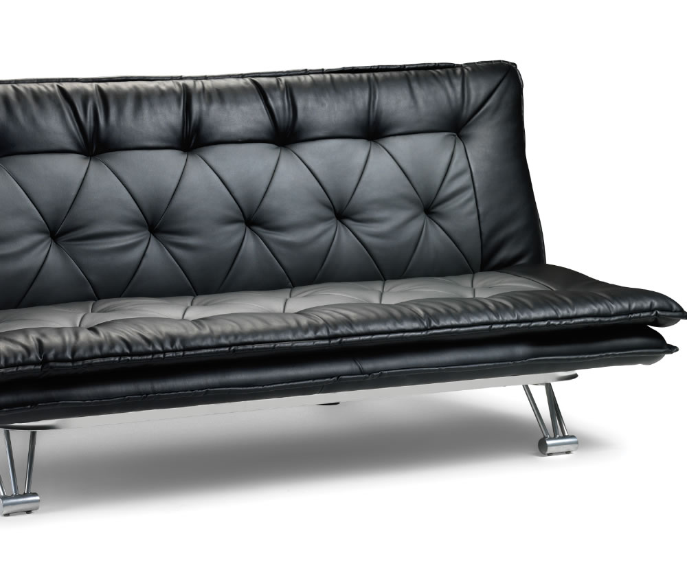elan 115cm faux leather clic clac sofa bed just 4ft beds. Black Bedroom Furniture Sets. Home Design Ideas