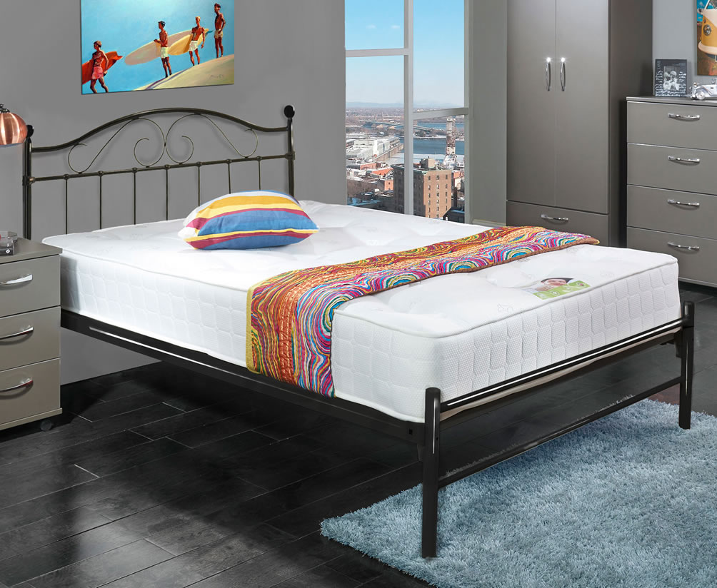exmoor small double 4ft black metal bed frame. Black Bedroom Furniture Sets. Home Design Ideas