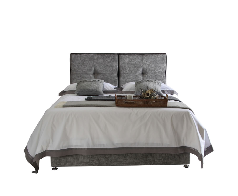 Leonardo small double 4ft upholstered divan bed for Double divan bed set