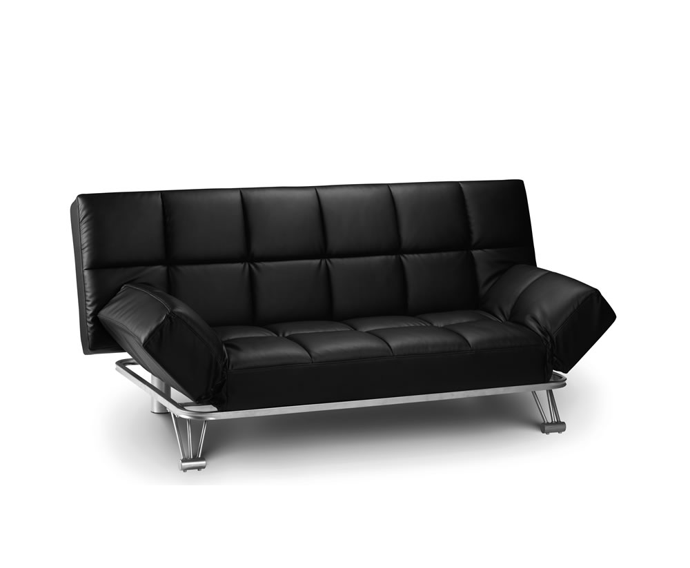 Manhattan 110cm black faux leather clic clac sofa bed for Sofa bed 4 you