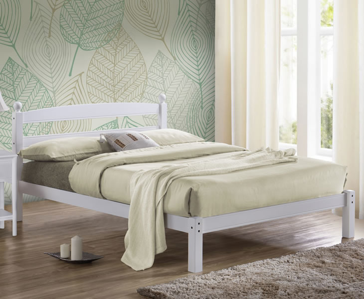 Small Double Frame Skipton 4ft White Hevea Wooden Bed