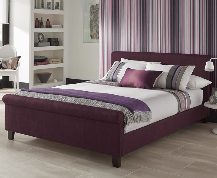 just4ftbeds.co.uk Henri Small Double 4ft Plum Upholstered Bed
