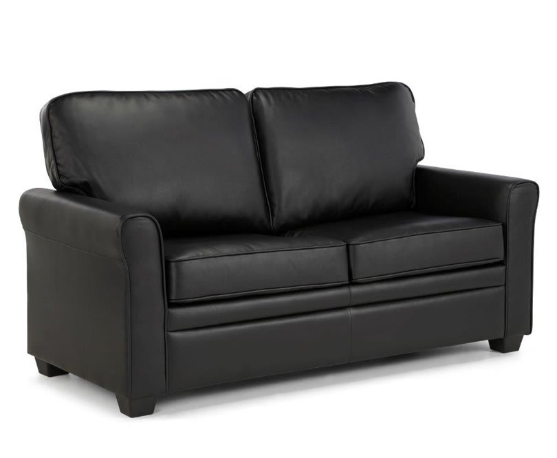 Naples 112cm black faux leather sofa bed just 4ft beds for Black divan bed with mattress