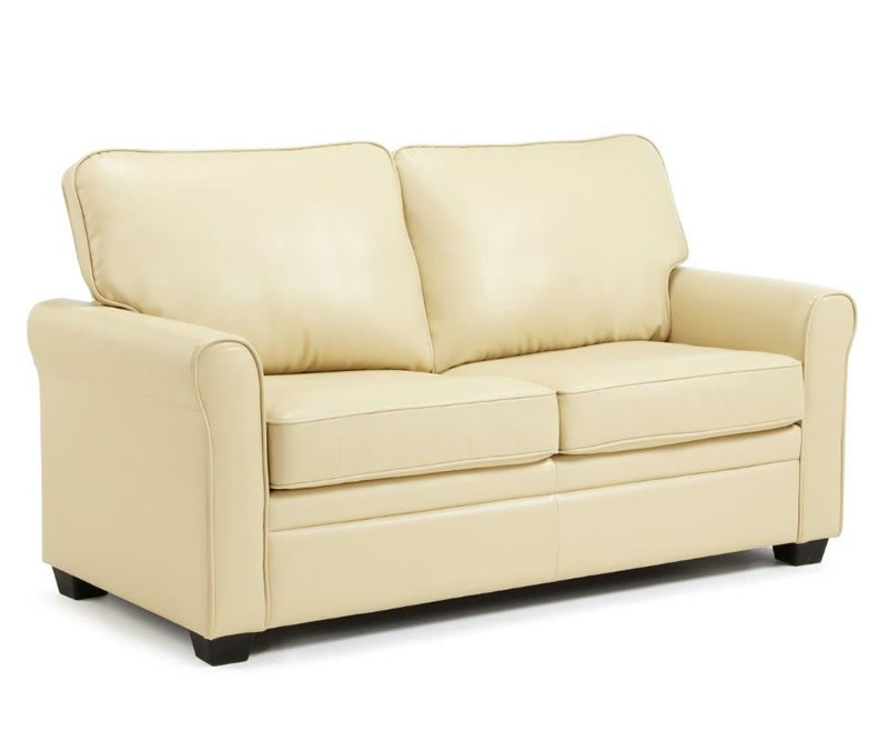 just4ftbeds.co.uk Naples 112cm Cream Faux Leather Sofa Bed