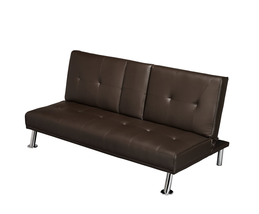 cinema 109cm brown faux leather clic clac sofa bed. Black Bedroom Furniture Sets. Home Design Ideas