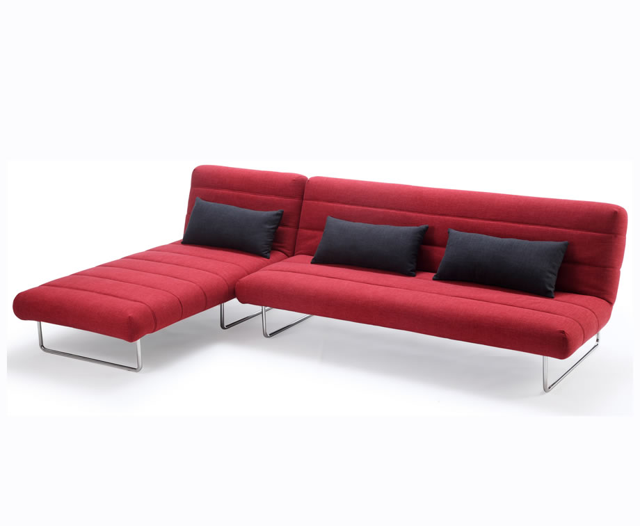Sofa beds Declan 112cm Red Fabric Sofa Bed and Chaise sofa bed + chaise