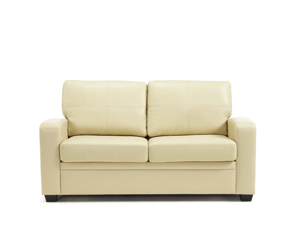 Turin Cream Faux Leather 112cm Sofa Bed Just 4ft Beds
