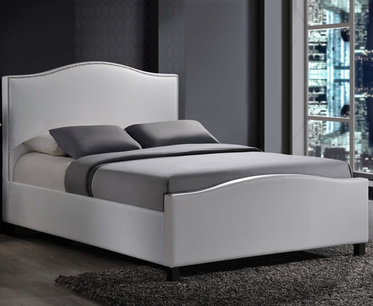 just4ftbeds.co.uk Bassett Small Double 4ft White Faux Leather Bed