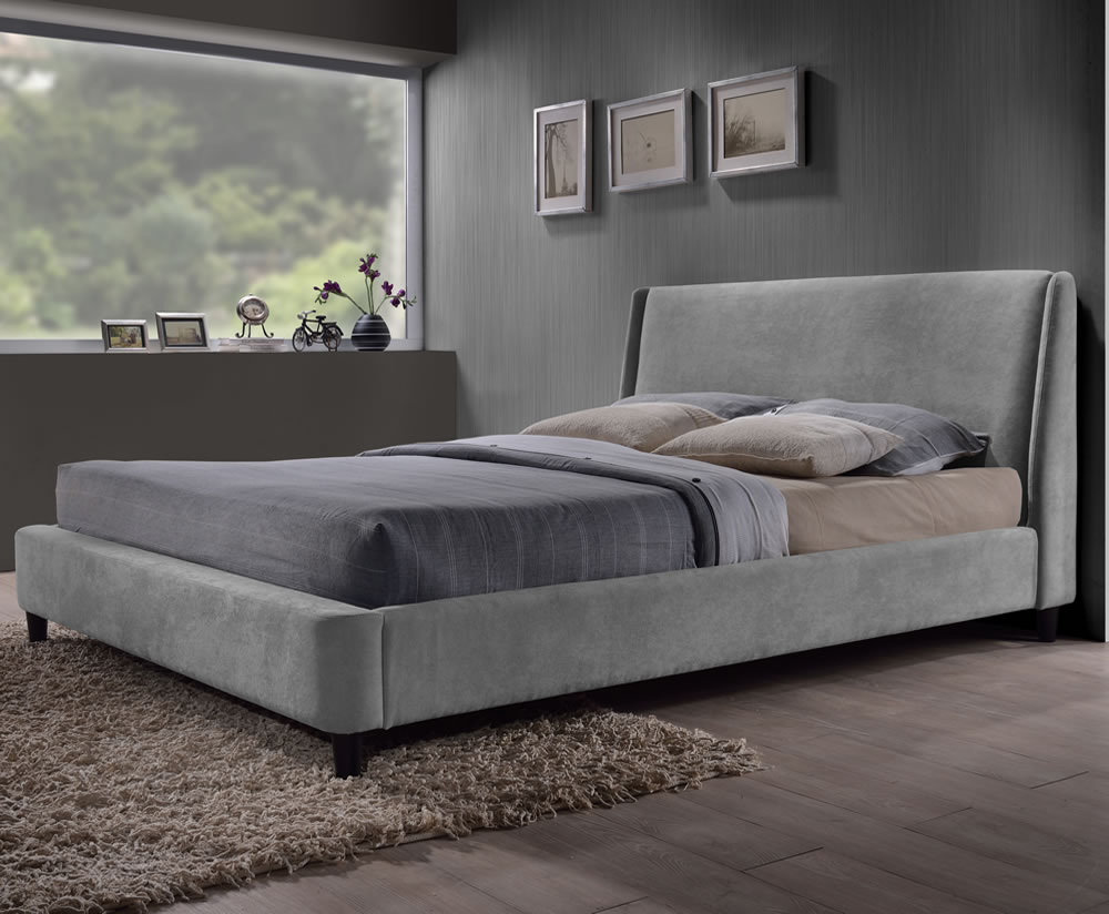 Addison small double 4ft grey upholstered bed for Grey double divan