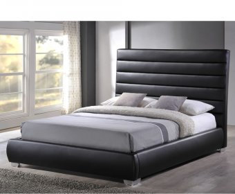 Chantry Small Double 4ft Black Faux Leather Bed