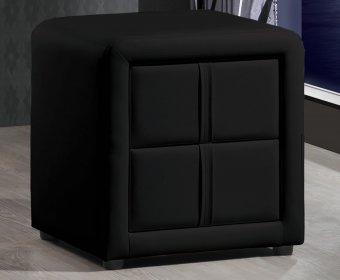 Larvotto Black Faux Leather Bedside Chest