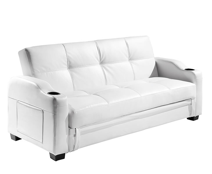 lillian 109cm white faux leather sofa bed. Black Bedroom Furniture Sets. Home Design Ideas