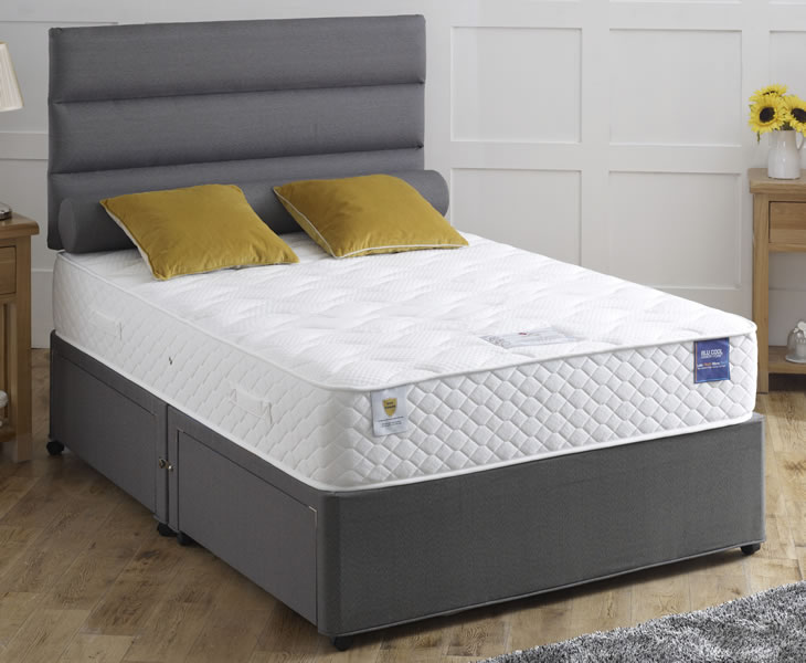Corinthian small double 4ft blu cool memory foam divan set for Small double divan set