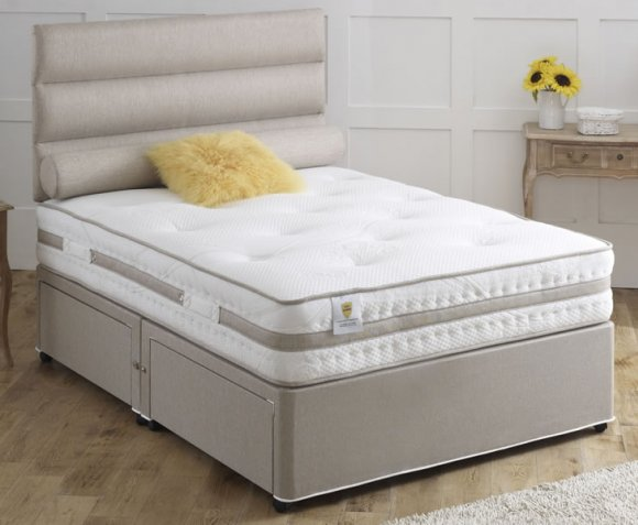 Vernon small double 4ft 1000 pocket spring divan set for Small double divan set