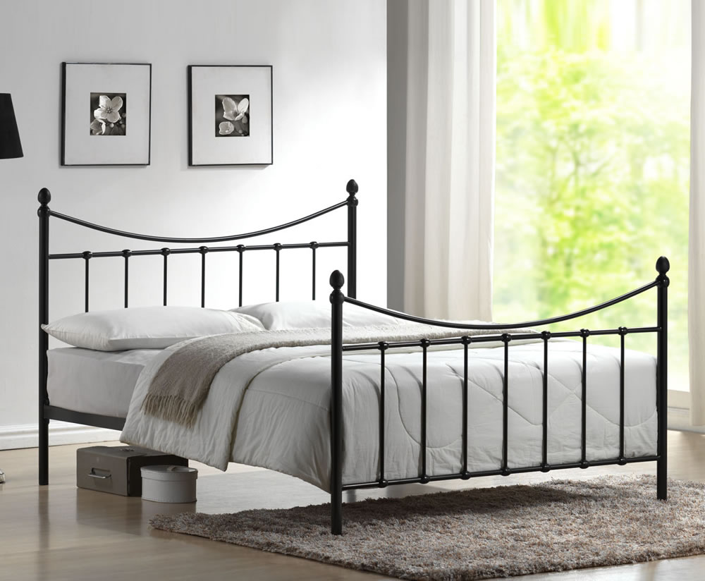 just4ftbeds.co.uk Acton Small Double 4ft Black Metal Bed