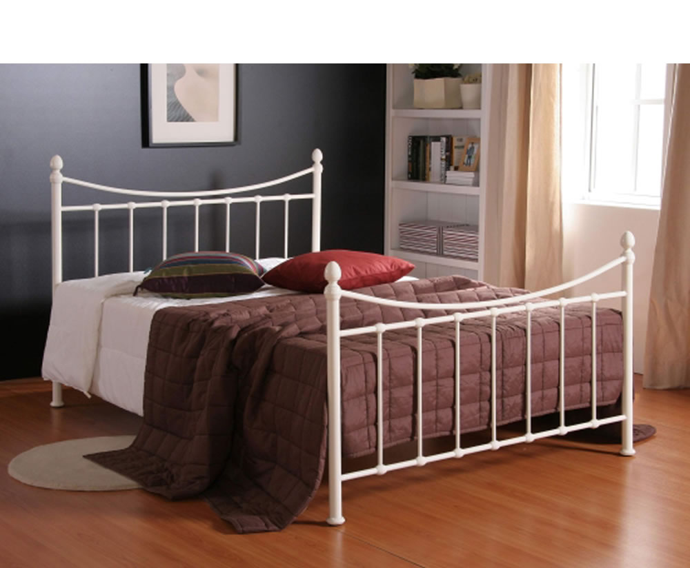 just4ftbeds.co.uk Acton Small Double 4ft Ivory Metal Bed