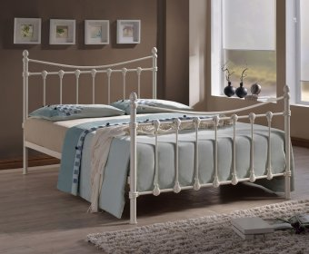 Drayton Small Double 4ft Ivory Metal Bed