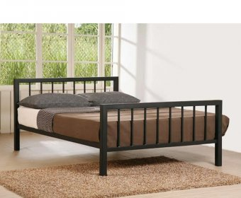 Margate Small Double 4ft Black Metal Bed