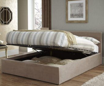 Avella Small Double 4ft Latte Fabric Ottoman Bed