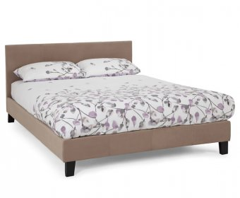 Avella Small Double 4ft Latte Fabric Bed Frame