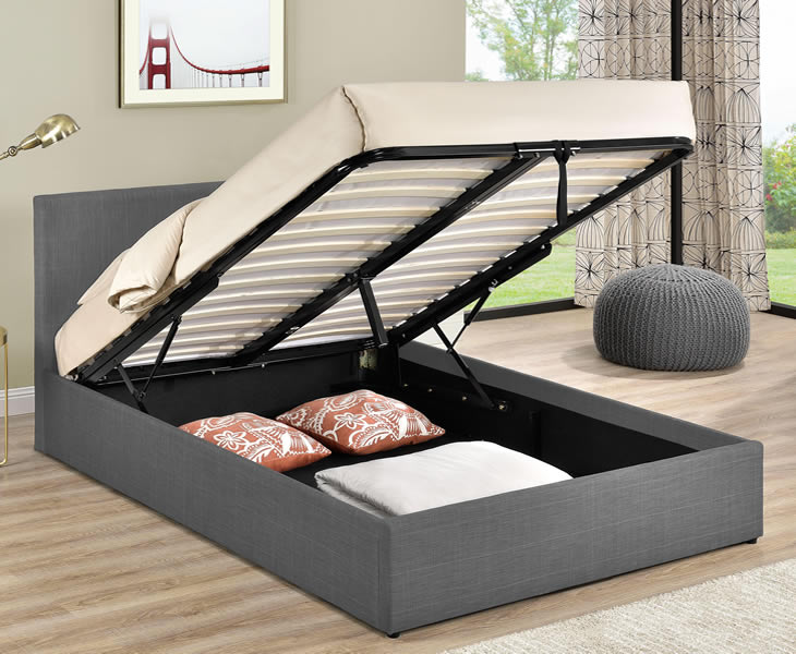 Ottoman Beds Holman Small Double 4ft Grey Check Upholstered Ottoman Bed