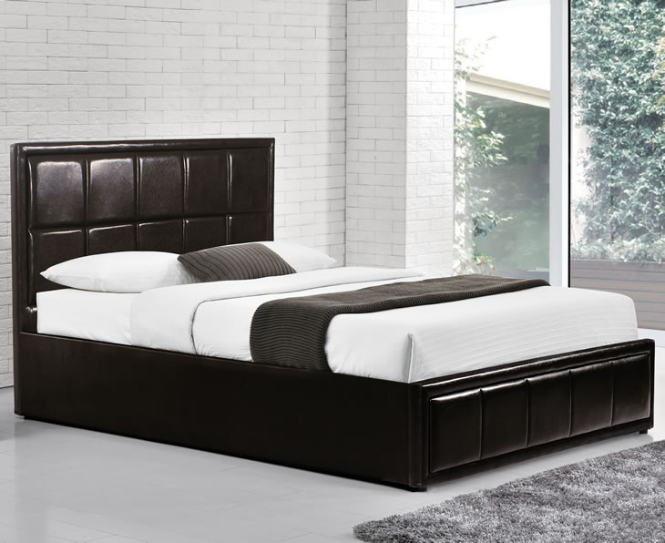just4ftbeds.co.uk Lage 4ft Brown Faux Leather Ottoman Bed