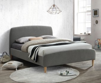 Montcalm 4ft Grey Fabric Upholstered Bed
