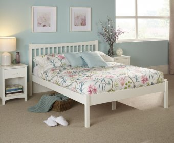 Beatrice Small Double 4ft Opal White Hevea Bed Frame