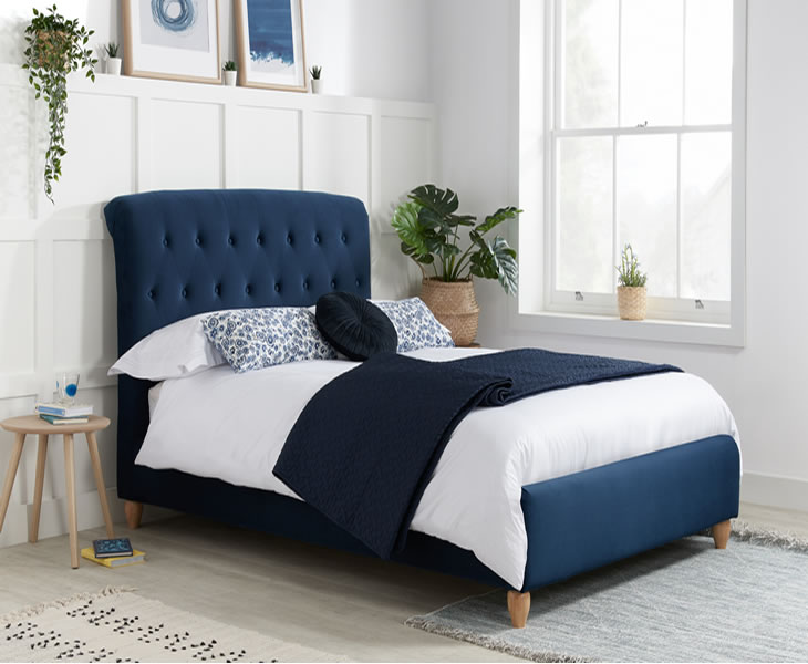 Small Double Frame Catterick 4ft Midnight Blue Fabric Upholstered Bed