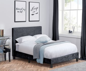 Alexa 4ft Black Crushed Velvet Upholstered Bed Frame