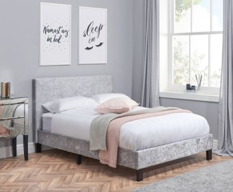 Alexa 4ft Steel Crushed Velvet Upholstered Bed Frame