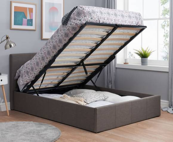 tamer small double 4ft grey fabric ottoman bed just 4ft beds. Black Bedroom Furniture Sets. Home Design Ideas