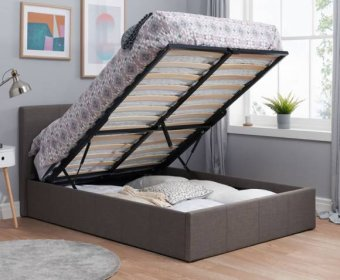 Tamer Small Double 4ft Grey Fabric Ottoman Bed