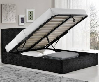 Alexa 4ft Black Crushed Velvet Upholstered Ottoman Bed
