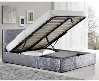 Alexa 4ft Steel Crushed Velvet Upholstered Ottoman Bed