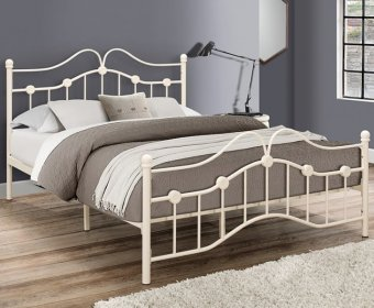 Canterbury Small Double 4ft Cream Metal Bed
