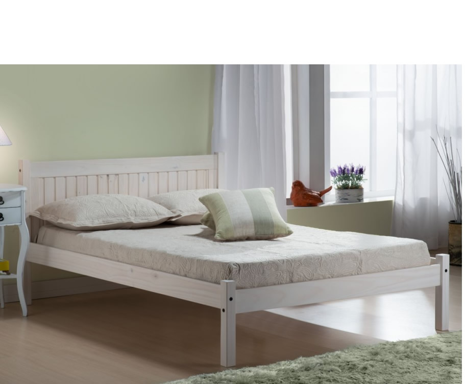 Small Double Frame Mendes 4ft White Wooden Bed