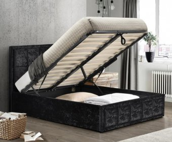 Lage 4ft Black Crushed Velvet Upholstered Ottoman Bed
