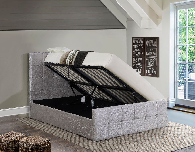 Ottoman Beds Portobello Steel Crushed Velvet Small Double 4ft Ottoman Bed