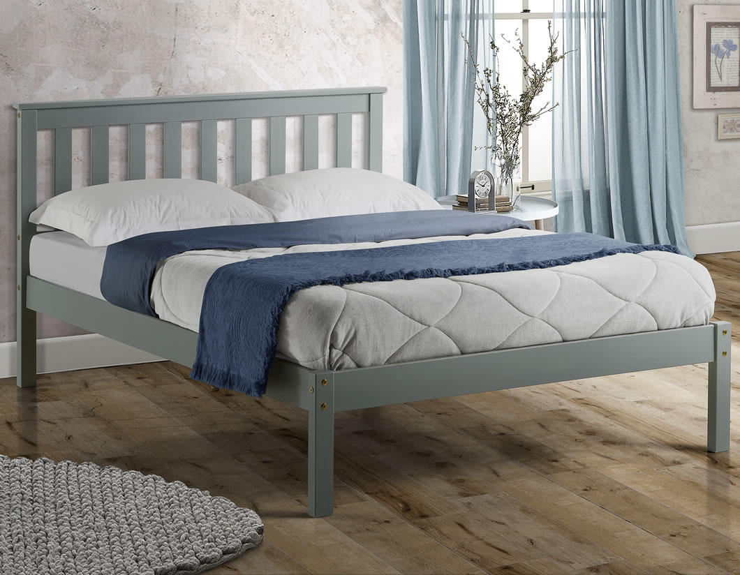 Small Double Frame Kennedy 4ft Shaker Grey Wooden Bed