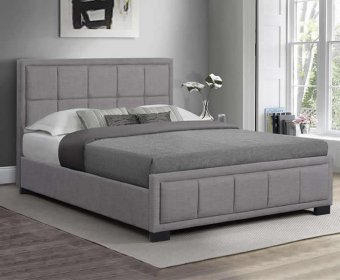 Lage 4ft Grey Upholstered Fabric Bed Frame