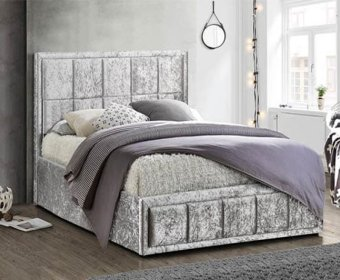 Lage 4ft Steel Crushed Velvet Upholstered Bed Frame